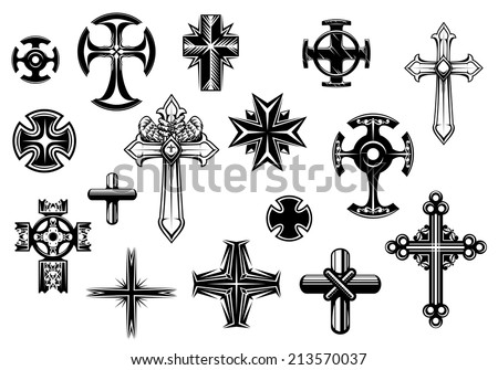 Religious crosses set isolated on white background for religious, tattoo and christianity design - stock vector