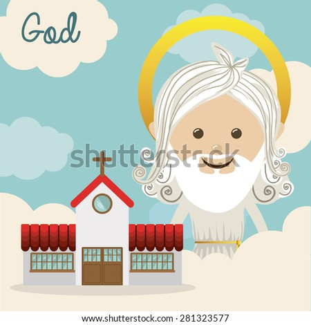 Religious design over blue background, vector illustration - stock vector