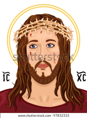 Religious Icon - portrait of Jesus Christ wearing the crown of thorns. With Greek sacred Christogram. Vector file saved as EPS AI8, no effects, easy edit and print. - stock vector
