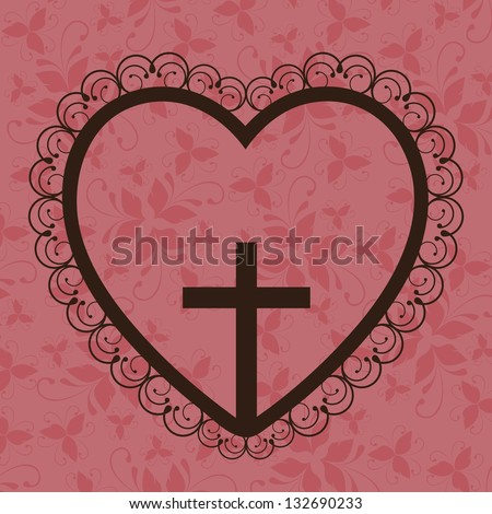Religious Illustration, Cross of Our Lord Jesus Christ with marriage, vector illustration - stock vector