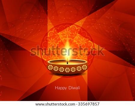 Religious red color happy diwali vector card design. - stock vector