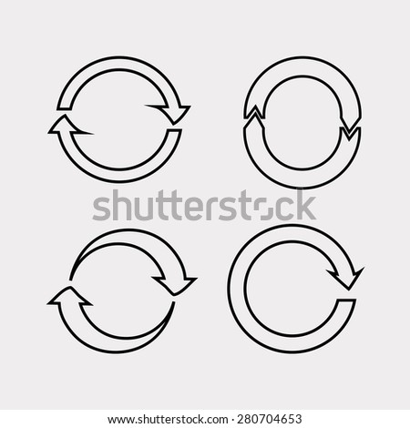 Reload flat design icon, set, update icon, refresh icon on a white background, line vector illustration. - stock vector