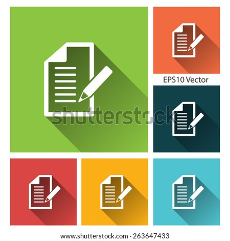 Reminder, organizer - long shadow flat icon set for app and web site. EPS10 vector - stock vector