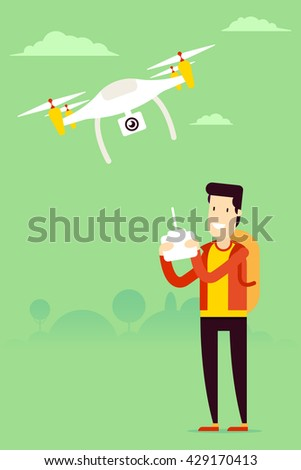 Remote aerial drone with a camera taking photography or video recording and man with the remote control managing copter. Vector art on isolated background. Flat design. - stock vector