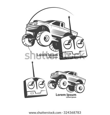 remote control car, shop concept, monster truck, bigfoot car, logo, simple illustration - stock vector
