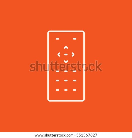 Remote control line icon for web, mobile and infographics. Vector white icon isolated on red background. - stock vector