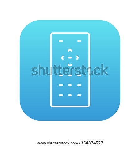 Remote control line icon for web, mobile and infographics. Vector white icon on the blue gradient square with rounded corners isolated on white background. - stock vector