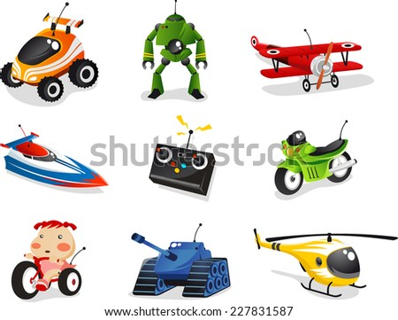 Remote control toy collection, includes car, boat, airplane, helicopter, robot and many more. - stock vector