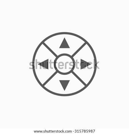 Remote controller's dial, knob, joystick icon - stock vector