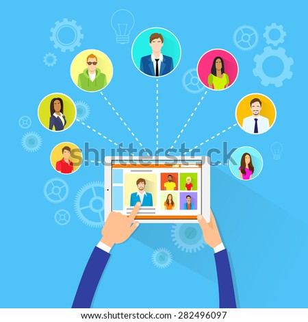 Remote Working Concept Internet Tablet Computer Manager Collaborate Business People Group Outsourcing Team Flat Vector Illustration - stock vector