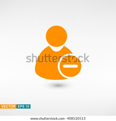 Remove user icon vector eps 10. Orange Remove user icon with shadow on a gray background. - stock vector