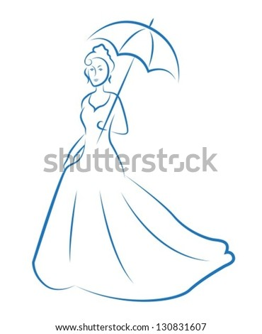 Renaissance woman with an umbrella and a long dress. Woman painted blue lines on a white background - stock vector