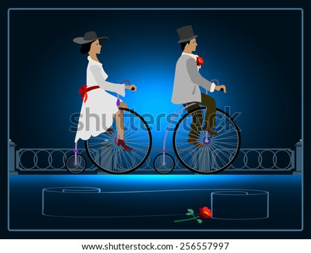 Rendezvous on the waterfront lady on a bicycle near a gentleman with a flower in her hand. - stock vector