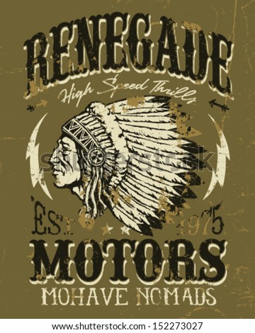 Renegade Motors Vintage Design for Apparel - stock vector