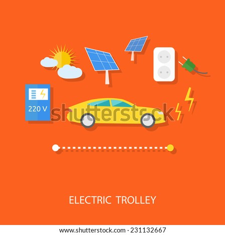 Renewable energy concept for electric car with solar panel, battery, socket and plug flat design - stock vector