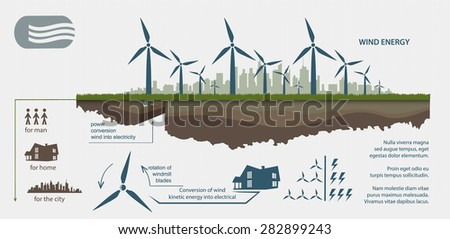 Renewable energy from wind turbines illustrated infographics - stock vector