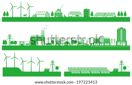 Renewable energy. Life of the city and the countryside  - stock vector