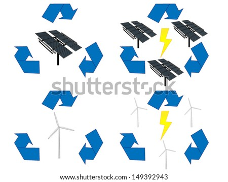Renewable Energy Signs Icons Wind and Solar Energy - stock vector
