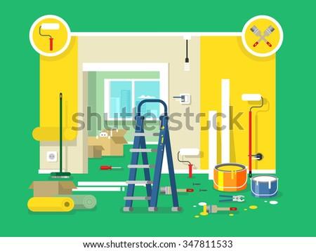 Renovation apartment flat design. Room in home, new interior. Vector illustration - stock vector