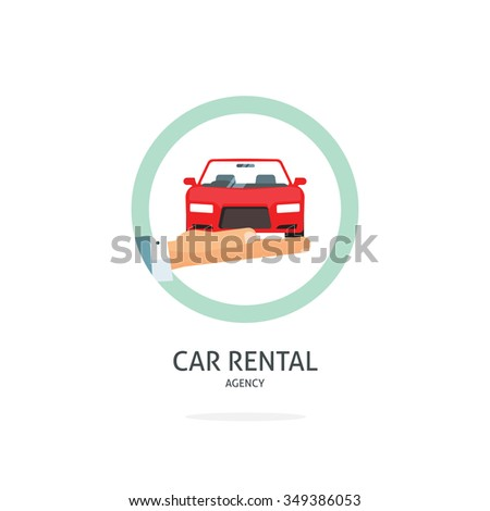 Rent a car agency vector logo template, hand holding auto symbol, icon flat ribbon, rental badge sticker, automobile dealer sale label concept, modern illustration design, sign isolated on white tag - stock vector
