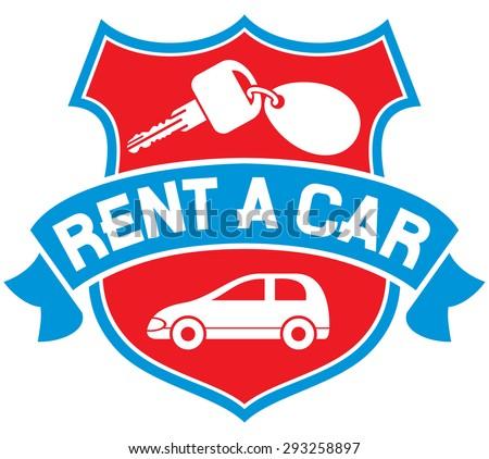 rent a car symbol (rent a car label) - stock vector