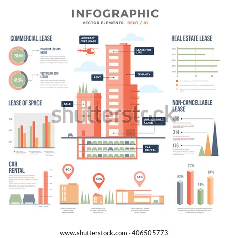 Rent. Infographics. Vector elements. All types of rentals, rental apartments, houses, commercial property, land rental, car rental, aircraft. Set of diagrams for creating your infographic.  - stock vector