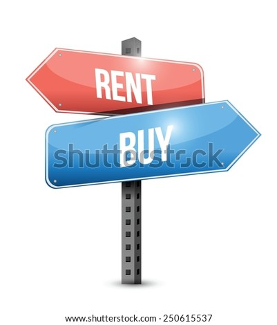 rent or buy sign illustration design over a white background - stock vector