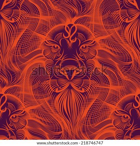 Repaint seamless pattern: Lion - stock vector