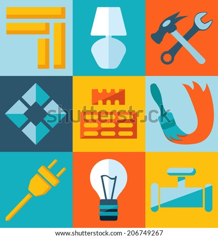 Repair and build flat icons - stock vector