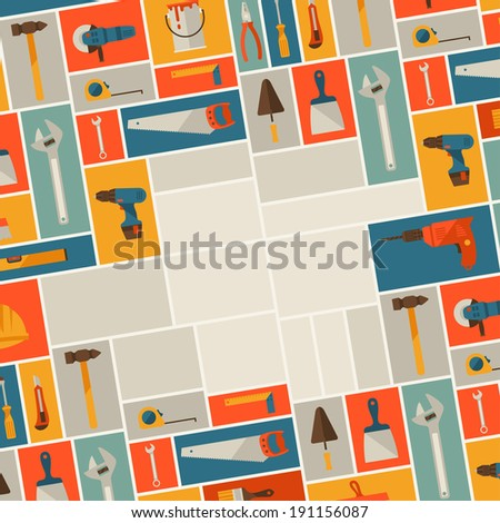 Repair and construction illustration with working tools icons. - stock vector