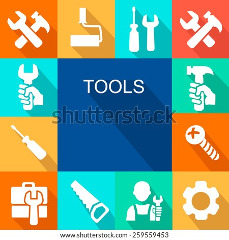 Repair and construction working tools icon background. - stock vector