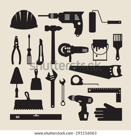 Repair and construction working tools icon set. - stock vector