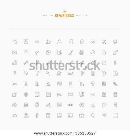 Repair icons. Line set for web and mobile - stock vector