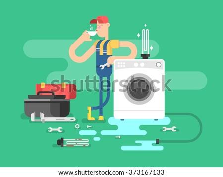 Repair of washing machines - stock vector