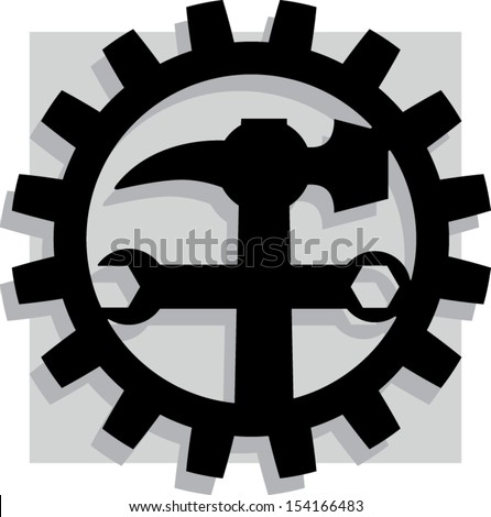 Repair Sign, logo for mechanical company - stock vector