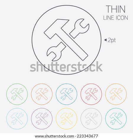 Repair tool sign icon. Service symbol. Hammer with wrench. Thin line circle web icons with outline. Vector - stock vector