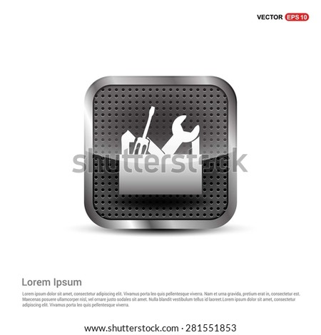 repair Toolbox with Tools icon - abstract logo type icon - abstract steel metal button background. Vector illustration - stock vector