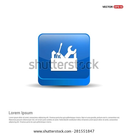 repair Toolbox with Tools icon - abstract logo type icon - blue 3d button background. Vector illustration - stock vector