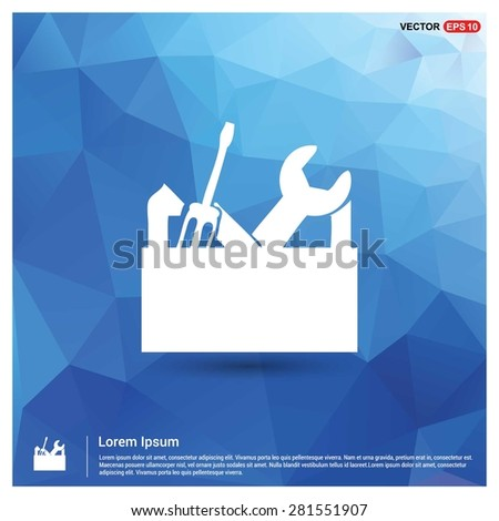 repair Toolbox with Tools icon - abstract logo type icon - blue polygonal background. Vector illustration - stock vector
