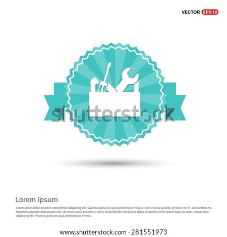 repair Toolbox with Tools icon - abstract logo type icon - Retro vintage badge and label turquoise background. Vector illustration - stock vector