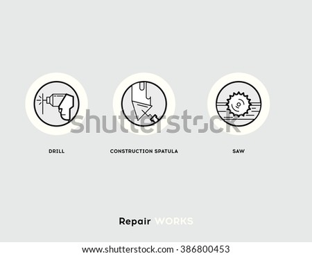 Repair Works. Flat Illustration Set of Line Modern Icons for Repair Works and Construction Industry. - stock vector