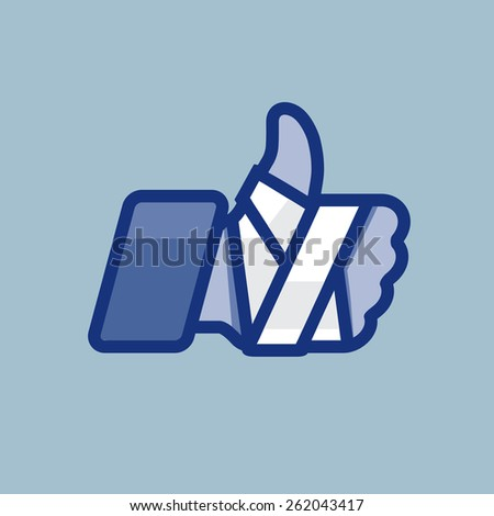Repaired bandaged arm thumb up. Vector icon for medical or health care design.  - stock vector