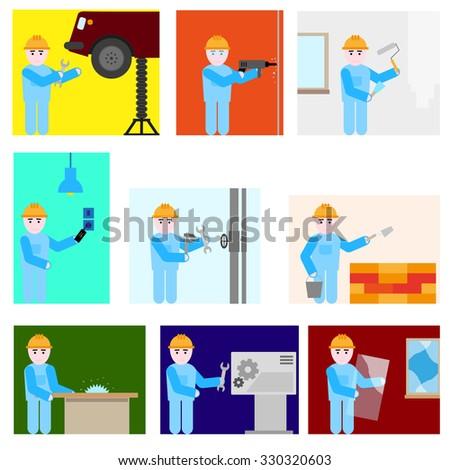 Repairman different professions set - stock vector