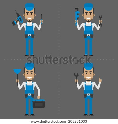 Repairman holds different instruments - stock vector