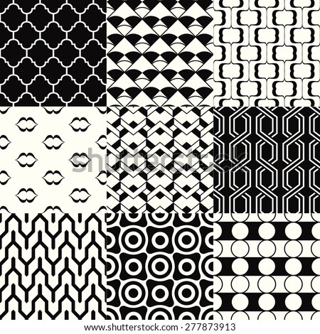 repeated monochromatic geometric pattern set - stock vector