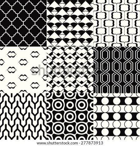 repeated monochromatic geometric pattern set - stock vector