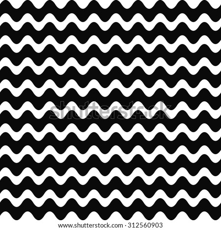Repeating black and white wave pattern - stock vector