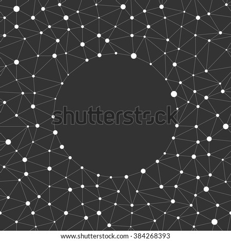 Repeating geometric triangle line with dots on the nodes with empty in the center. On dark background. Abstract texture linear grid. Vector seamless illustration for web site and print - stock vector