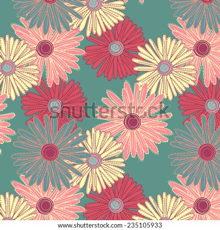 repeating pattern with flowers, colorful gerbera daisies - stock vector