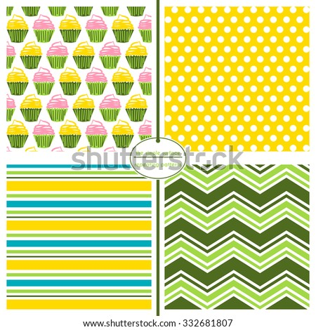 Repeating patterns for digital paper, scrapbooking, cards, invitations, paper backgrounds and textiles.  File includes: cupcake print, polka dots, stripes and chevron. - stock vector